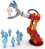 Robot arm hand choose best person. Robotic arm chooses one Person in group of people HR decision vector illustration