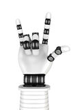 Robot Arm Hand Rock Music Gesturing. 3d Render Illustration royalty free illustration