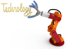 Robot arm hold Technology title word. Robotic arm holding word Technology as blog article subject title above copy-space royalty free illustration