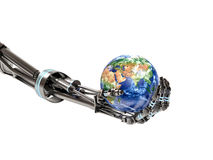 Robot arm holding the planet earth Stock Photos
