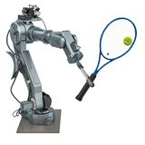 Robot arm play tennis, 3D. Rendering royalty free illustration