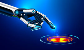 The robot arm presses the index finger on the button with the icon of the nuclear danger. Futuristic concept. Set robot arms gesture Stock Photos