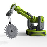 A robot arm with a saw blade Stock Images