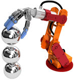 Robot arm technology industrial balls. Robotic arm building growth in technology business as ball bearings stack stock illustration