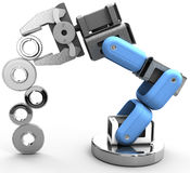 Robot arm technology industrial gears. Robotic arm building growth in technology business as gear stack stock illustration