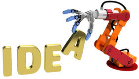 Robot arm technology plan idea concept. Robot arm holding letter in Idea word for automation technology vector illustration