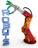Robot arm technology robots word stack. Robot arm holding robots word as illustration for robotic concept issues royalty free illustration