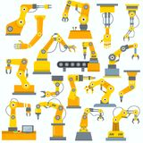 Robot arm vector robotic machine hand indusrial equipment in manufacture illustration set of engineer character of Royalty Free Stock Photography