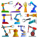 Robot arm vector robotic machine hand technology equipment illustration set of robotechnic engineer character in Royalty Free Stock Photography