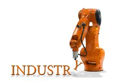 Robot arm writing technology mechanical arm industrial letter. White background vector illustration