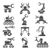 Robot arms black icons. Robot arms icons. Technology factory robot manufacturing elements. Vector illustration royalty free illustration