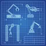 Robot arms blueprint machine industrial robotic vector Stock Photography