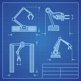 Robot arms blueprint machine industrial robotic vector stock illustration