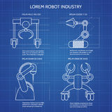 Robot arms blueprint Royalty Free Stock Photo