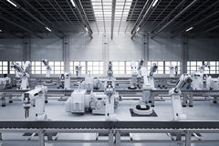 Robot arms with conveyor line. 3d rendering robot arms with conveyor line Royalty Free Stock Photo