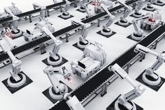 Robot arms with conveyor line Stock Image