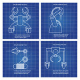 Robot arms line art design vector illustration