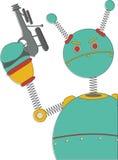 Robot arrabbiato con annata della pistola di fantascienza la retro Fotografia Stock