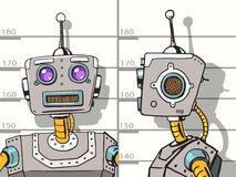 Robot arrested photo in police pop art vector Stock Photography