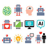Robot, Artificial Intelligence AI, cyborg icons set Stock Images