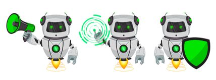 Robot with artificial intelligence, bot, set of three poses. Funny cartoon character holds loudspeaker, holds shield and points on. Round hologram. Vector stock illustration