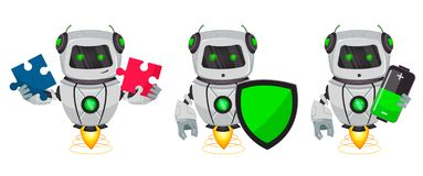 Robot with artificial intelligence, bot, set of three poses. Funny cartoon character holds puzzle, holds shield and holds battery. Vector Illustration stock illustration