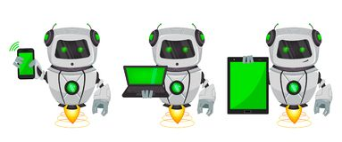 Robot with artificial intelligence, bot, set of three poses. Funny cartoon character holds smartphone, holds laptop and holds. Tablet. Vector Illustration royalty free illustration