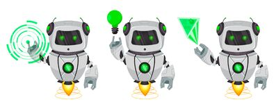 Robot with artificial intelligence, bot, set of three poses. Funny cartoon character points on hologram and shows on green lamp. Vector Illustration stock illustration