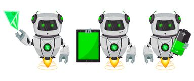 Robot with artificial intelligence, bot, set of three poses. Funny cartoon character shows on hologram, holds tablet and holds. Battery. Vector Illustration stock illustration