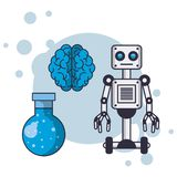Robot and Artificial intelligence brain stock illustration