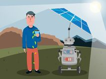 A robot with artificial intelligence charges the solar panels blocking the sun from a person. Vector illustration. stock illustration