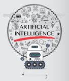 Robot with artificial intelligence icon pack stock illustration