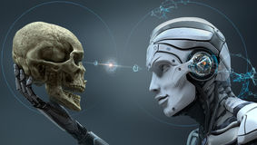 Robot holding a human skull. Robot with Artificial Intelligence observing human skull in Evolved Cybernetic organism world. 3d rendered image