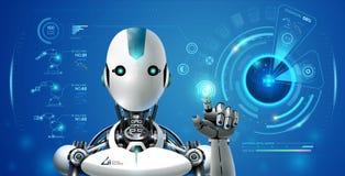 Robot artificial intelligence technology smart lerning hologram stock illustration