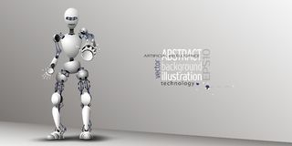 Robot Artificial Intelligence White for background, vector clipart Stock Images