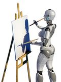 Robot artist. The robot draws a picture Royalty Free Stock Images