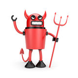 Robot as Devil. Separated on white Royalty Free Stock Photography