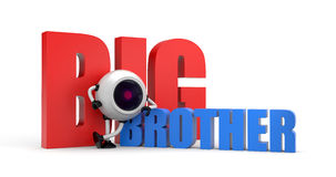 Robot as video camera with words - big brother Royalty Free Stock Image