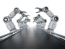 Robot assembly line. Automation industry concept with 3d rendering robot assembly line in factory royalty free illustration