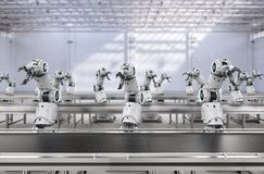 Robot assembly line. Automation industry concept with 3d rendering robot assembly line in factory royalty free stock image