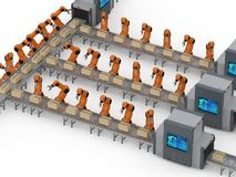 Robot assembly line. Automation industry concept with 3d rendering robot assembly line in factory vector illustration