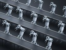 Robot assembly line. Automation industry concept with 3d rendering robot assembly line in factory stock illustration