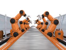 Robot assembly line. Automation industry concept with 3d rendering robot assembly line in factory stock photos