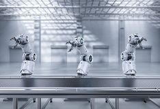 Robot assembly line. Automation industry concept with 3d rendering robot assembly line in factory stock photo