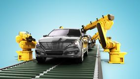 Robot assembly line in car factory 3d render on blue. Robot assembly line in car factory 3d render on Stock Photography