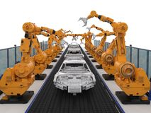 Robot assembly line in car factory Stock Photo