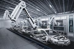 Robot assembly line in car factory. 3d rendering robot assembly line in car factory royalty free illustration