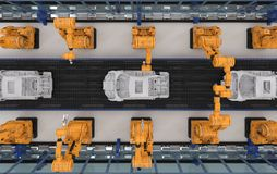 Robot assembly line in car factory Royalty Free Stock Photos