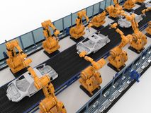 Robot assembly line in car factory. 3d rendering robot assembly line in car factory royalty free stock image