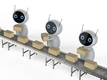 Robot assembly line. 3d rendering robot assembly line with boxes on conveyor belt in factory stock photo